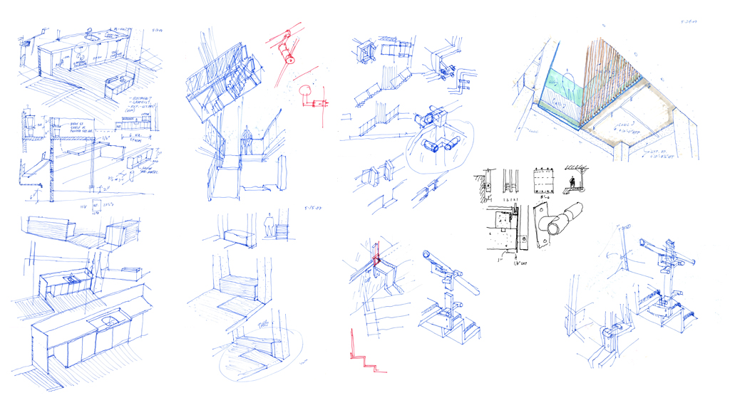 ZGF Office Stairs: Design sketches